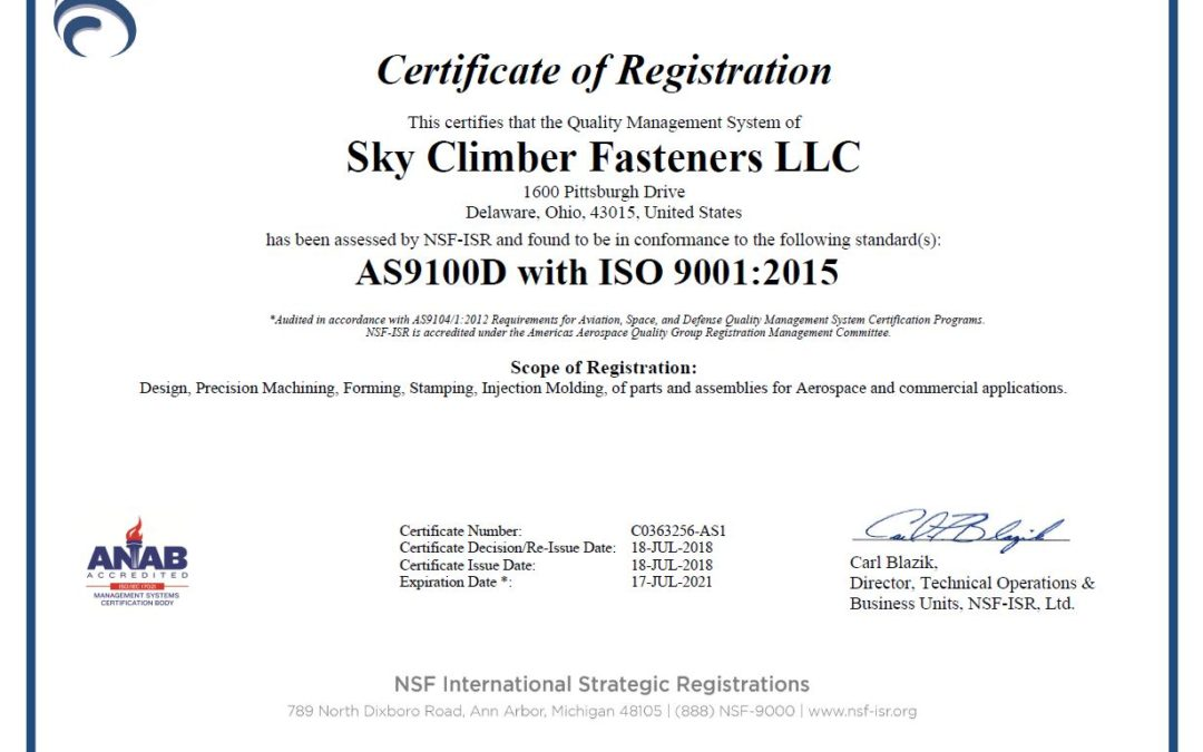 Sky Climber Fasteners, LLC announces AS9100 RevD aerospace registration