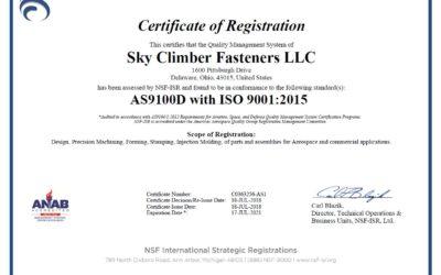 Sky Climber Fasteners, LLC announces AS9100 RevD aerospace registration